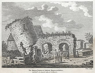 Isca Augusta - A partially intact Roman tower at Caerleon, drawn in 1783