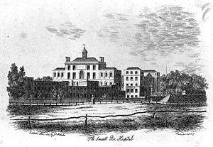 London Smallpox Hospital - The former London Smallpox Hospital, St. Pancras situated near Battle Bridge in 1807