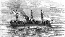 A sketch of a ship with two large gun turrets, tall fore and sterncastles, underway off a shoreline.