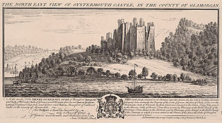 The north east view of Oystermouth castle, in the county of Glamorgan