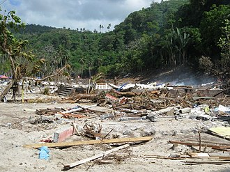 Lalomanu - The remains of Lalomanu village after the tsunami in 2009