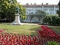 The statue of Mihály Vörösmarty Listed ID 3919 (1865, Miklós Vay work) and the Say House. Listed dwelling house ID 3924. - 8, Vörösmarty Square., Székesfehérvár, Fejér county, Hungary.JPG
