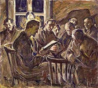 "Freedom of assembly - ""Sammankomsten"" (""The Meeting""), oil painting by Ester Almqvist, original at the Swedish National Museum. The painting was chosen by the UN as a motif for a stamp commemorating the establishment of the Universal Declaration of Human Rights, paragraph 20: the Right of Assembly"