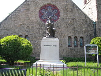 Theodore Parker - Parker's statue in front of the Theodore Parker Church, a Unitarian parish in West Roxbury, Massachusetts.