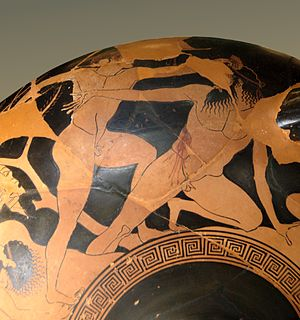 Bacchylides - Theseus triumphing over the notorious thug Procrustes – here depicted by the artist Euphronios. Bacchylides celebrated such victories by Theseus in one of his dithyrambs, sung in the form of a dialogue between chorus and chorus-leader (poem 18).