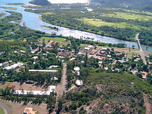 Thio, New Caledonia - An aerial view of the village of Thio