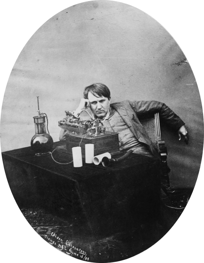 File thomas edison listening to wax cylinder for The edison