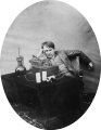 Thomas Edison listening to wax cylinder, 1888.png