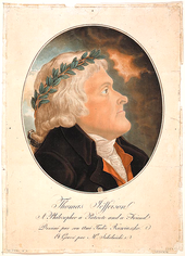 Aquatint of Thomas Jefferson in profile by Tadeusz Kościuszko