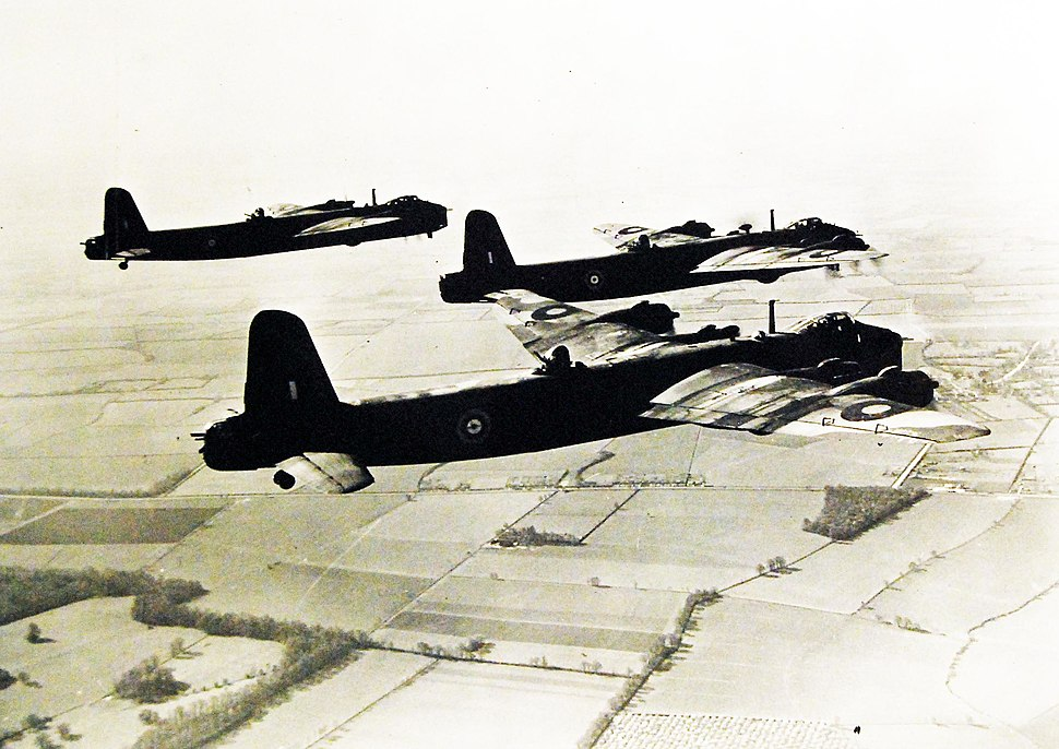 Three Short Stirling bombers taking off over Great Britain, 1942-43 (27846330316)