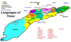 Timor - Language map of Timor