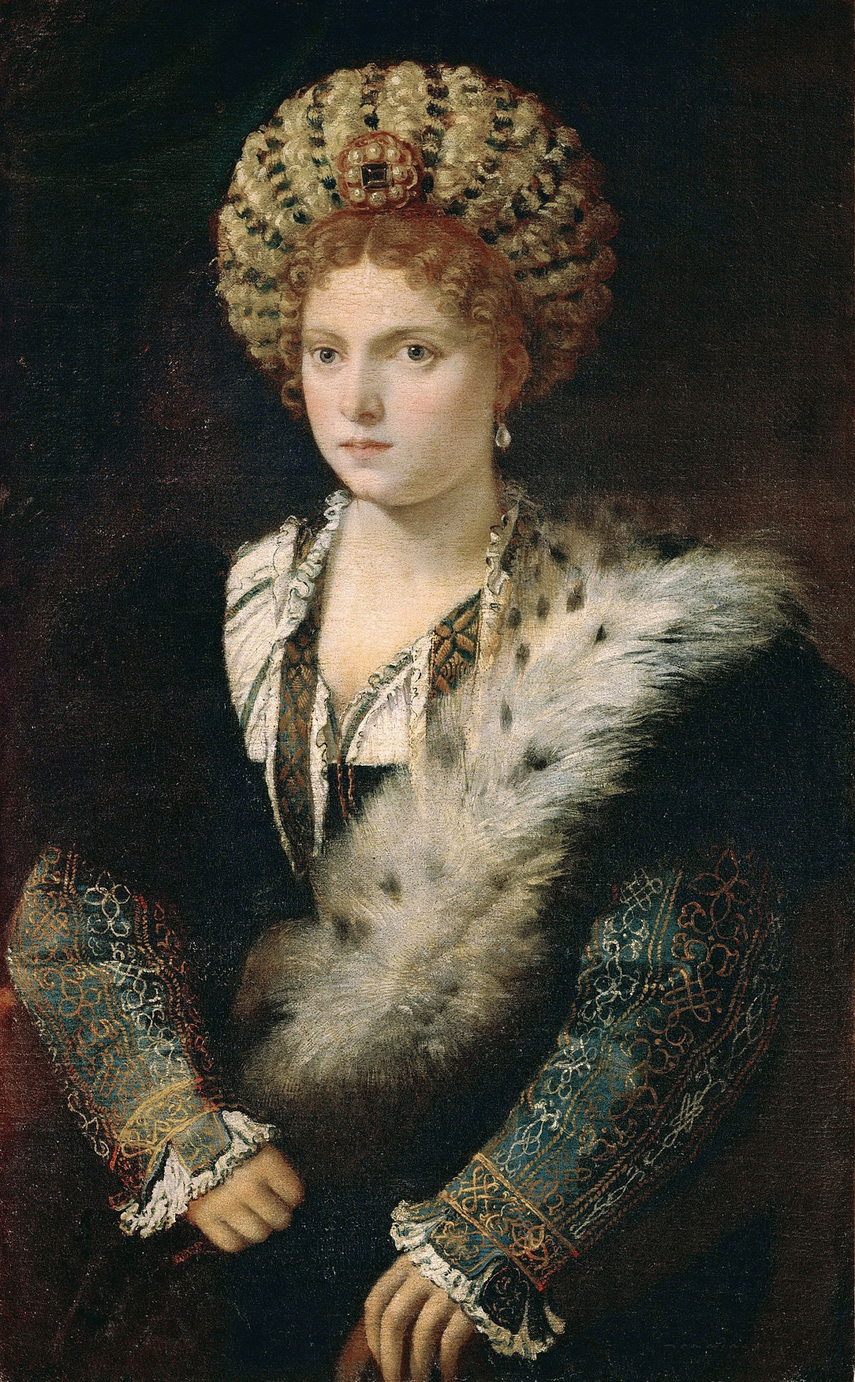 portrait of isabella d 39 este titian wikipedia. Black Bedroom Furniture Sets. Home Design Ideas