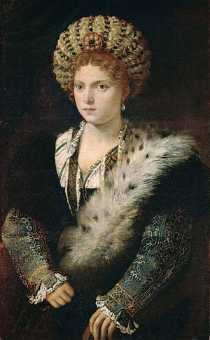 Portrait of Isabella d'Este (Titian) - Oil on canvas, 102 cm × 64 cm (40 in × 25 in), c 1534-36. Kunsthistorisches Museum, Vienna