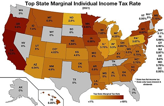 Top State Marginal Tax Rates (2016)