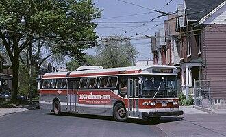 Ossington Avenue - A TTC trolleybus on the Ossington route in 1987