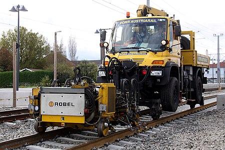 Unimog 405/UGN road-rail vehicle used in remodeling, renovation and modernization of Neunkirchen railwaystation in Austria.