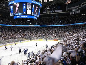 Rogers Arena - The scoreboard at a Canucks 2007 playoffs game