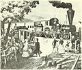 Train and stagecoach at West Newton, circa 1834.jpg