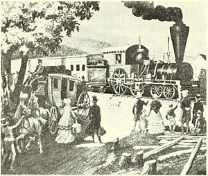 West Newton (MBTA station) - A stagecoach and train at West Newton in 1834