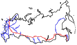Trans-Siberian Highway - Seven roads comprising the Trans-Siberian Highway.