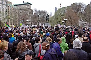 "Black Lives Matter - ""Million Hoodie March"" in Union Square, Manhattan on March 21, 2012, protesting George Zimmerman's shooting of Trayvon Martin"