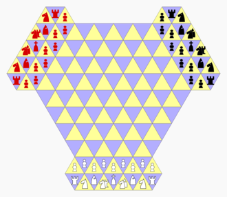 Tri-Chess - Tri-Chess gameboard and starting position. In the diagram, chancellors are represented by rook and knight combined; cardinals are represented by bishop and knight combined.