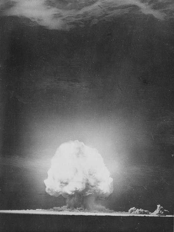 The Trinity explosion, which took place at New Mexico's White Sands Proving Ground on July 16, 1945, marked the beginning of the Atomic Age. Trinity atmospheric nucleat test - July 1945 - Flickr - The Official CTBTO Photostream.jpg