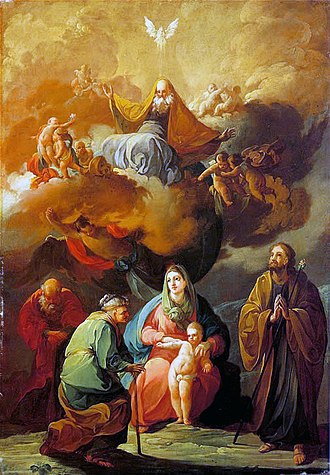 The Holy Family with Saint Joachim and Saint Anne Before the Eternal Glory - Image: Triple generacion