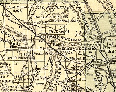 Papago Station, the site of the Esmond train wreck, on the rail line southwest of Tucson on this 1883 map.