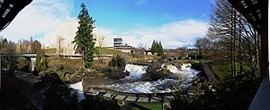 Tumwater, Washington - Panoramic view of the upper falls and the former Olympia Brewery, 2011