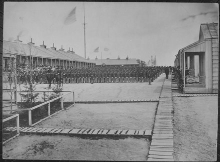 The U. S. C. T. 26th on parade at Camp William Penn, Pa. 1865 Twenty-sixth United States Colored Volunteer Infantry, massed. Camp William Penn, Pennsylvania., ca. 1897 - ca. 1897 - NARA - 533126.tif