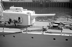 USS Cincinnati (CL-6) - Twin 6-inch gun turret on USS Cincinnati at Vancouver 1937