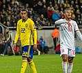 UEFA EURO qualifiers Sweden vs Spain 20191015 Thiago Alcantara and Robin Quaison 4.jpg