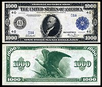 graphic relating to Fake 1000 Dollar Bill Printable called Major denominations of United Says forex - Wikipedia