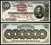 Certificado de prata de $ 20, série 1878, Fr.307, representando Stephen Decatur