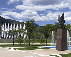 United States Air Force Academy, Cadet Area - The Air Gardens form the east quarter of the Terrazzo