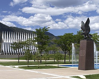 "United States Air Force Academy - The Eagle and Fledglings Statue at the south end of the Air Gardens is inscribed with the quote, ""Man's flight through life is sustained by the power of his knowledge"""