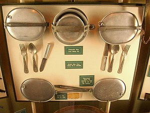Mess kit - United States Army mess kits, pre-World War I and during World War I, exhibited in the Soldiers and Sailors Memorial Hall and Museum, Pittsburgh, Pennsylvania