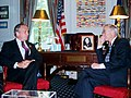 US Navy 020702-N-3399W-001 The Honorable Gordon England, Secretary of the Navy, visits with New York City Mayor Michael Bloomberg.jpg