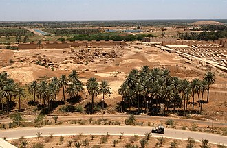 Babylon - A partial view of the ruins of Babylon from Saddam Hussein's Summer Palace