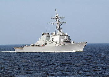 US Navy 030614-N-4374S-001 The Arleigh Burke-class, guided missile destroyer USS Ross (DDG 71) steams through the Baltic Sea during the annual maritime exercise Baltic Operations 2003 (BALTOPS).jpg