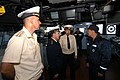 US Navy 040702-N-1693W-003 From right to left, The Commanding Officer of the guided missile cruiser USS Cowpens (CG 63), Capt. John Sorce, speaks with Russian Dignitaries.jpg