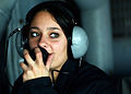 US Navy 041115-N-7130B-024 Seaman Crystal Rudolph of Radcliff, Ky., talks on a sound-powered telephone aboard USS Ronald Reagan (CVN 76).jpg