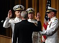 US Navy 050722-N-0962S-002 Secretary of the Navy Gordon England administers the Oath of Office to Adm. Mike Mullen. Adm.jpg