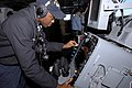 US Navy 080111-N-0640K-002 Operations Specialist 3rd Class Dion Johnson, from Carson, Calif., monitors a radar system on the bridge of the Nimitz-class nuclear-powered aircraft carrier USS Ronald Reagan (CVN 76).jpg