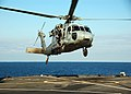 US Navy 090131-N-1429M-058 An MH-60 Sea Hawk helicopter assigned to Helicopter Sea Combat Squadron (HSC) 28 lands aboard the amphibious command ship USS Mount Whitney (LCC 20).jpg