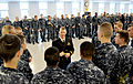 US Navy 091201-N-1232M-001 Lt. j.g. Daniel Jones, assigned to the Los Angeles-class attack submarine USS Chicago (SSN 721), speaks with recruits from Division 013 at Recruit Training Command about life in the fleet and serving.jpg
