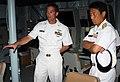 US Navy 100705-N-7058E-153 Chief Fire Controlman Jeffrey Mauldin explains the fire control system for the ship's Mk-110 57mm gun to Japan Maritime Self-Defense Force Rear Adm. Kazuki Yamashita.jpg