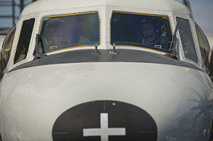 US Navy 120125-N-DR144-300 Plane Commander Lt. Cmdr. Tara Refo, left, and Pilot Lt. Ashley Ruic, both assigned to Carrier Airborne Early Warning Sq.jpg