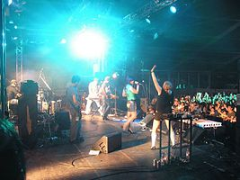 United State of Electronica, live at the Red Marquee (backstage view, Fuji Rock Festival 2005, Naeba, Niigata, Japan).jpg